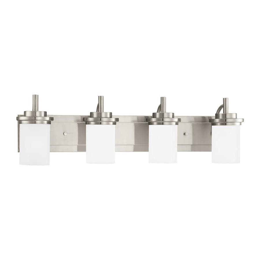 Sea Gull Lighting Winnetka 4-Light 9.25-in Brushed nickel Cylinder Vanity Light ENERGY STAR