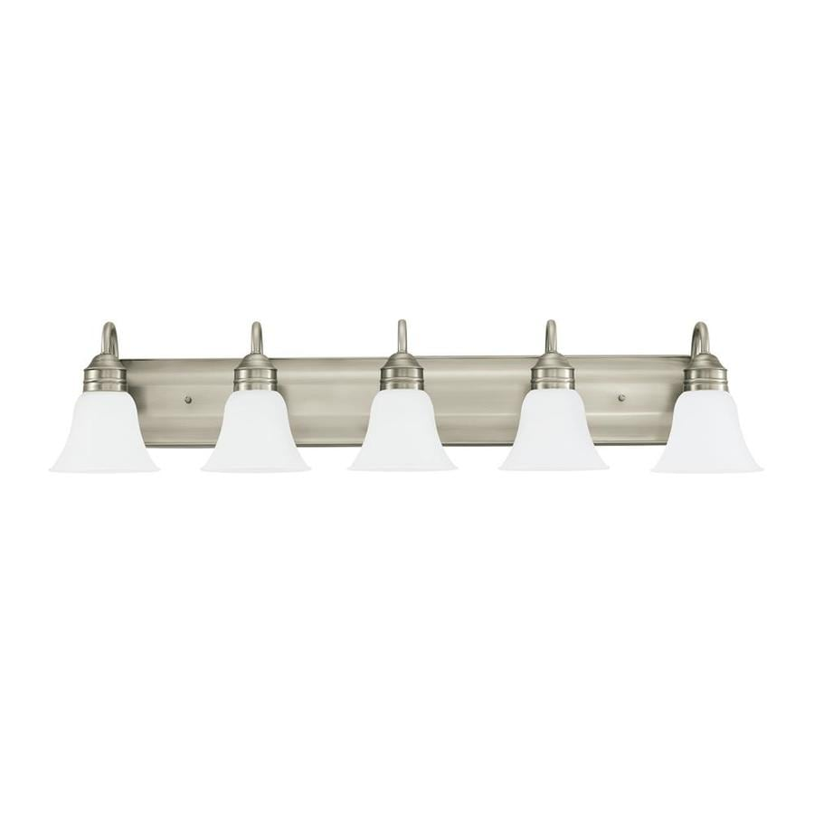 Sea Gull Lighting Gladstone 5-Light 9-in Antique brushed nickel Bell Vanity Light ENERGY STAR