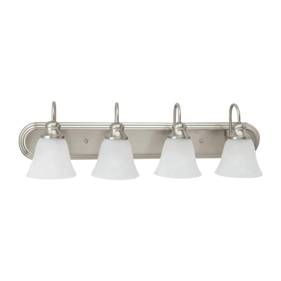 Sea Gull Lighting 44237 962 3 Light Brushed Nickel Bathroom Vanity Wall Fixture: Shop Sea Gull Lighting Windgate 4-Light 8.187-in Brushed Nickel Bell Vanity Light ENERGY STAR At