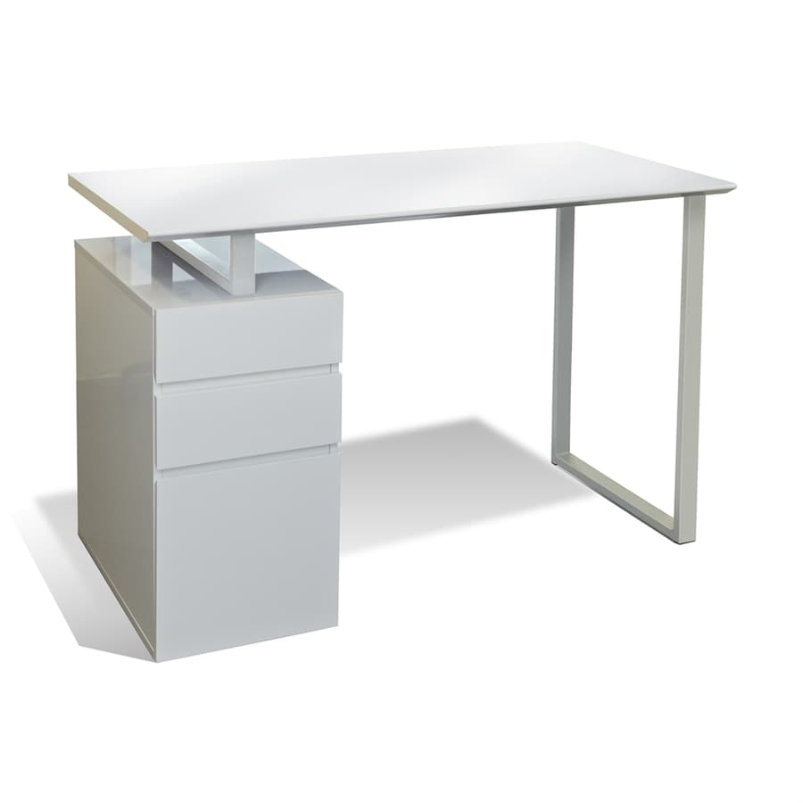 Jesper Office Tribeca White Study Desk With Drawers