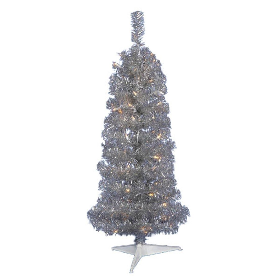 Northlight 4.5-ft Pre-Lit Tinsel Slim Artificial Christmas Tree with 150 Constant Clear White Lights