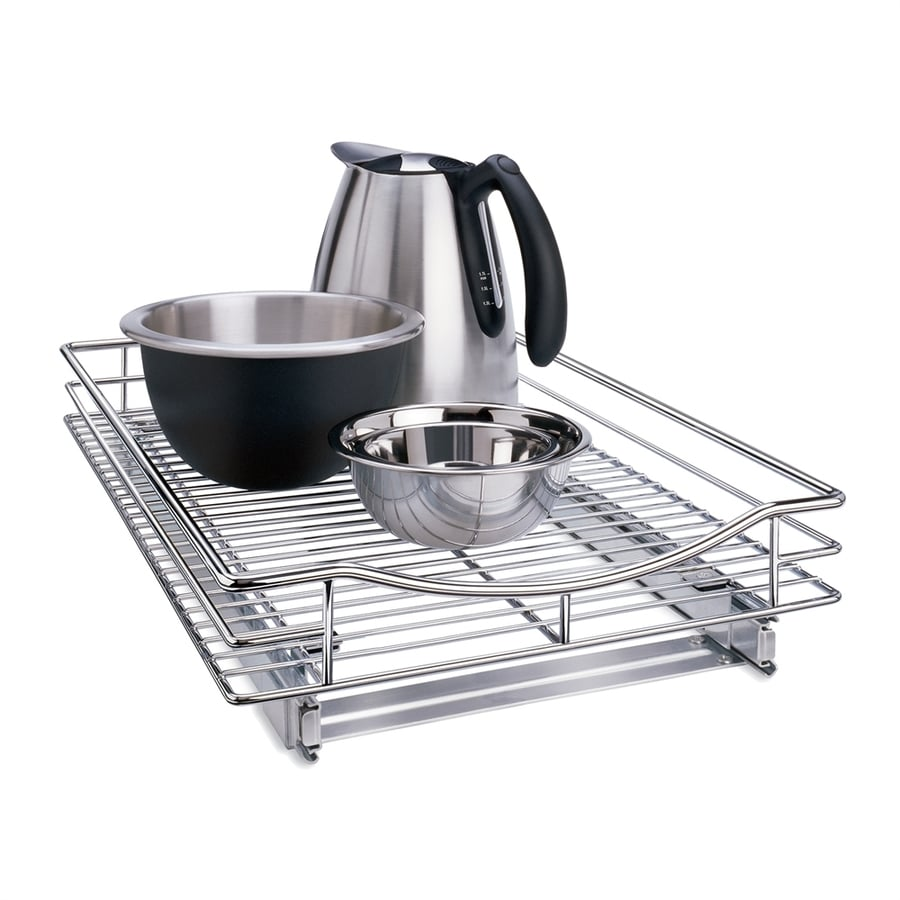 Lynk 14-in x 4-in H Metal Single Tier Pull Out Cabinet Cookware Organizer