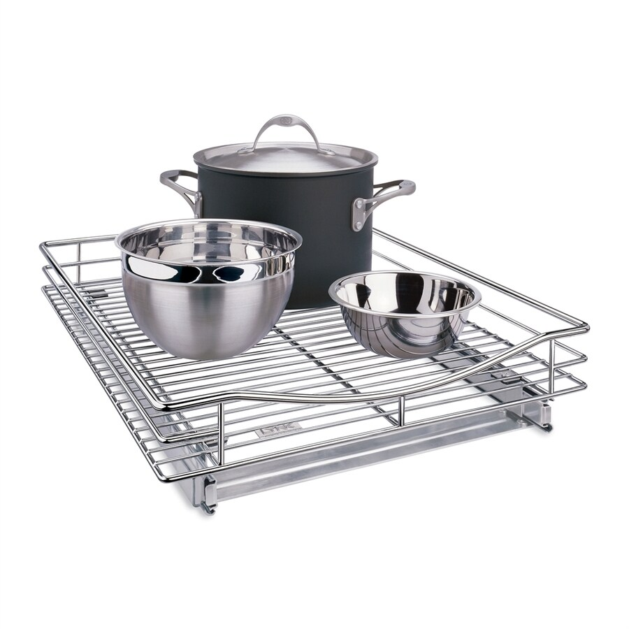Lynk 17-in x 4-in H Metal Single Tier Pull Out Cabinet Cookware Organizer