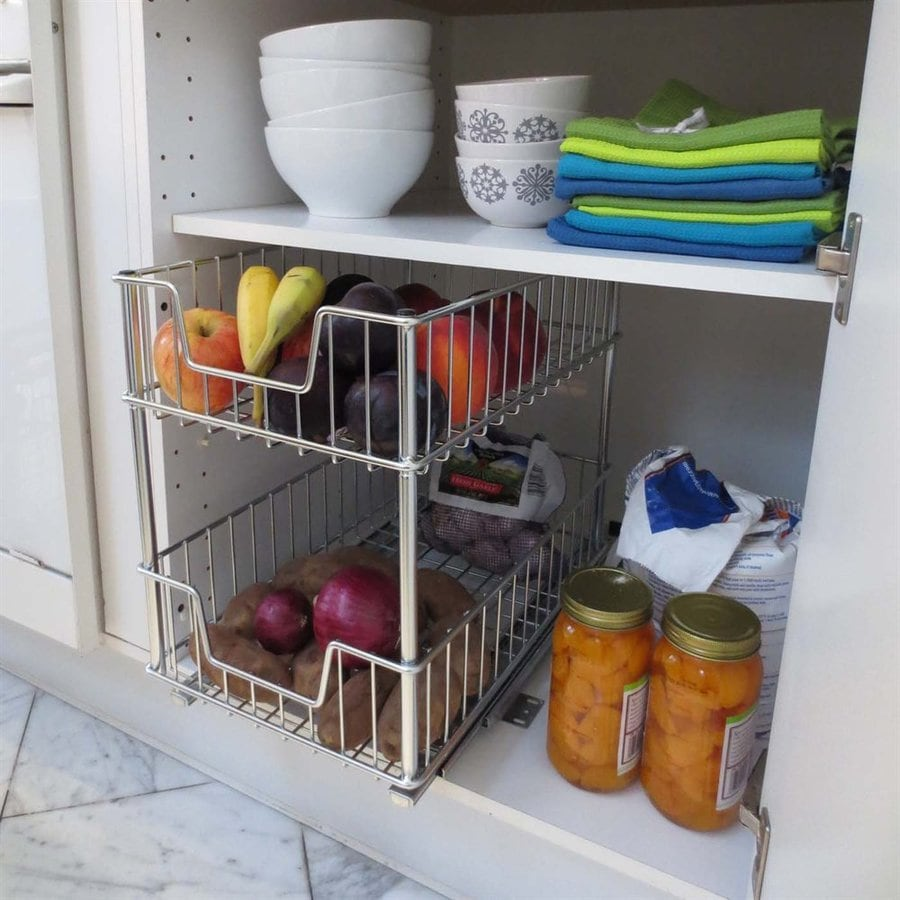Trinity 11 5 In W X 16 2 Tier Pull Out Metal Cabinet Shelf