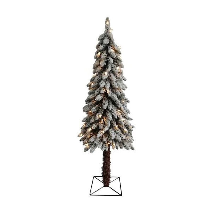 Northlight 4-ft Pre-lit Alpine Slim Flocked Artificial Christmas Tree with 70 Clear White Incandescent Lights