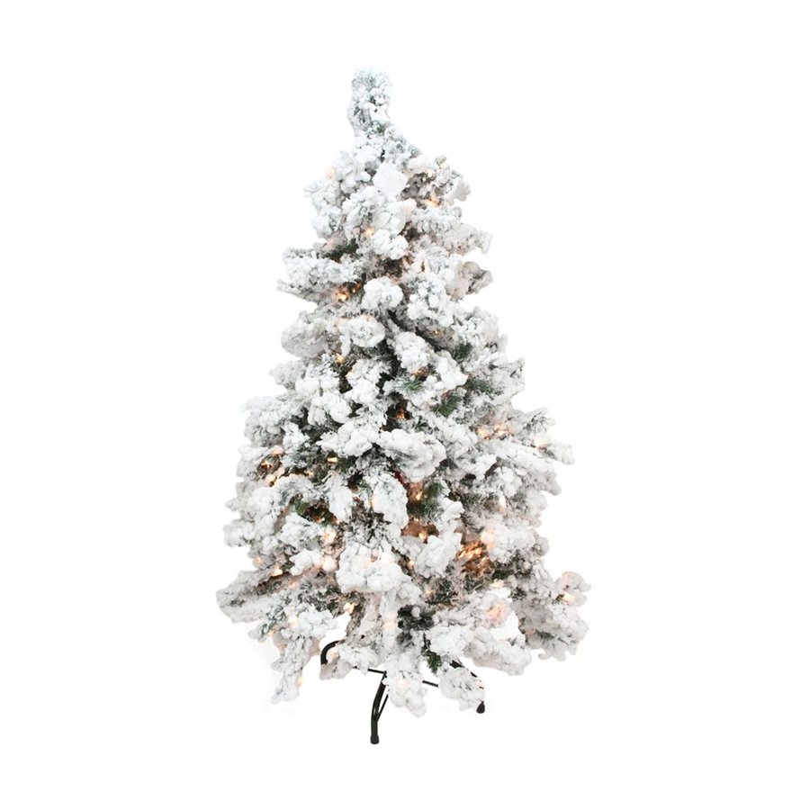 Northlight 2-ft 61-Count Pre-Lit Flocked Artificial Christmas Tree with 50 Clear White Lights