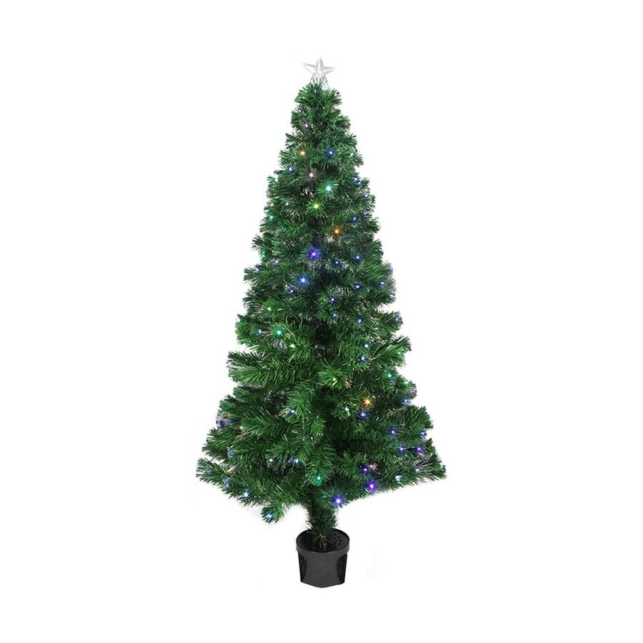 Northlight 4-ft Pre-lit Slim Artificial Christmas Tree with Color Changing Fiber Optics and 130 LED Lights