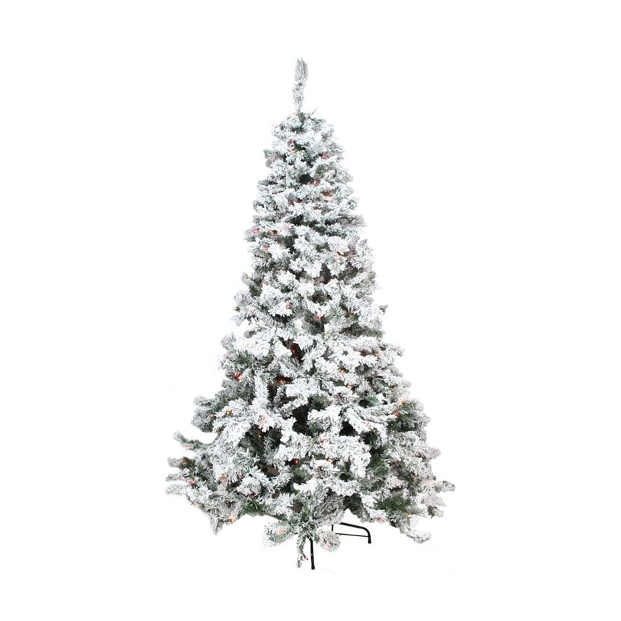 northlight 9 ft pre lit flocked artificial christmas tree with 800 constant multicolor incandescent
