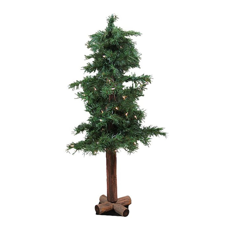 4 Ft White Christmas Trees Artificial: Northlight 4-ft 250-Count Pre-Lit Alpine Slim Artificial