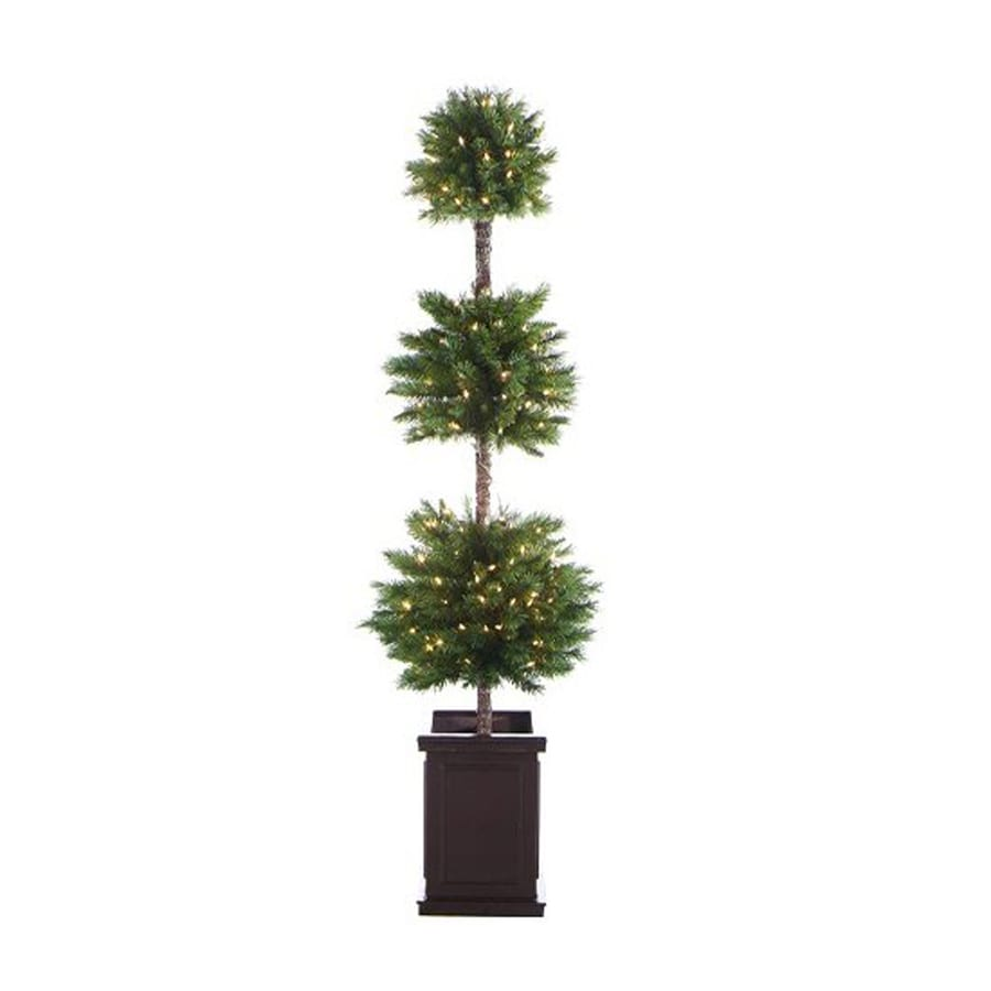 Real Christmas Trees Lowes: Northlight 6-ft Pre-lit Triple Ball Topiary Slim