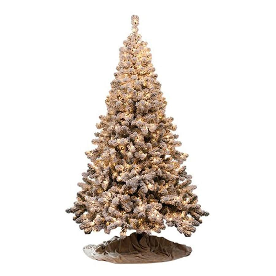 Northlight 6-ft 6-in Pre-lit Flocked Artificial Christmas Tree with 550 Multi-function Clear White Incandescent Lights