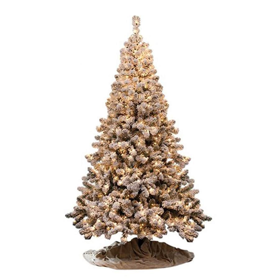 Shop Northlight 7-ft 6-in Pre-lit Flocked Artificial Christmas ...