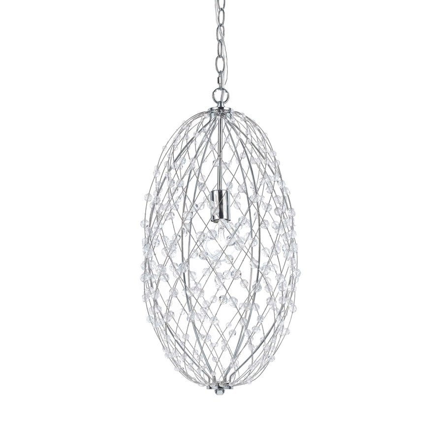 AF Lighting Silver Web 11.5-in Chrome Crystal Electrical Outlet/Hardwired Single Oval Pendant