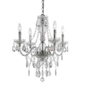 Shop white chandeliers at lowes af lighting elements 21 in w 4 light clear crystal electrical outlethardwired candle aloadofball Image collections