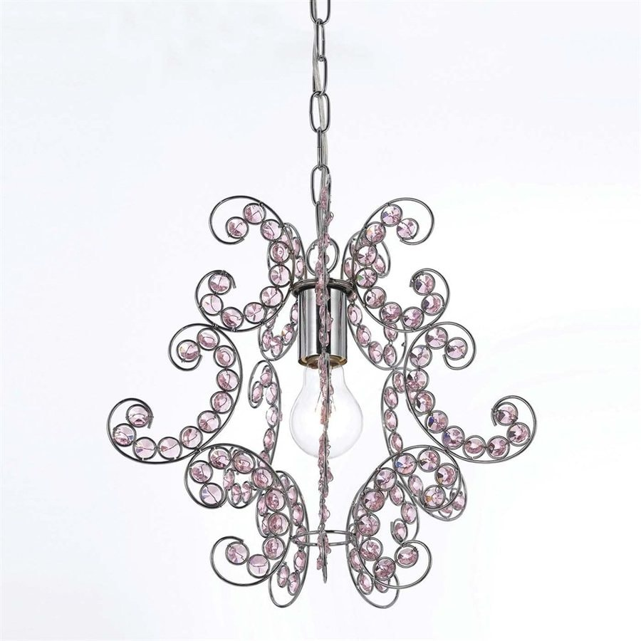 AF Lighting Elements 12.5-in Chrome Crystal Electrical Outlet/Hardwired Single Mini Pendant