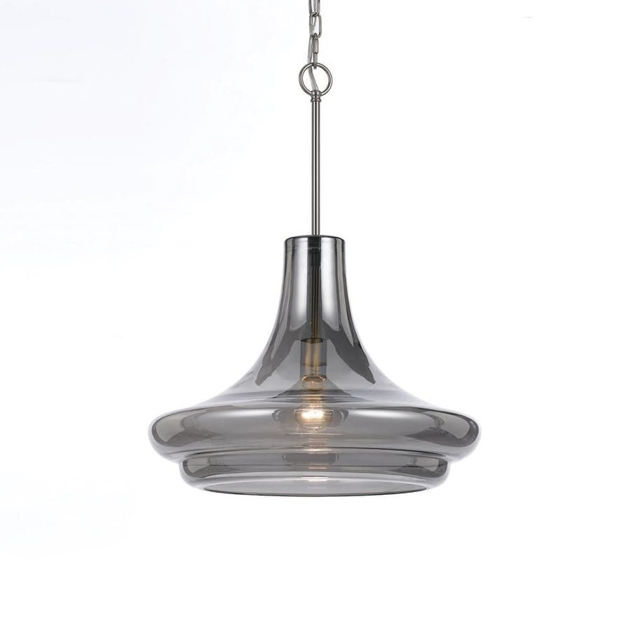 AF Lighting Elements 18-in Smoke Electrical Outlet/Hardwired Single Tinted Glass Teardrop Pendant