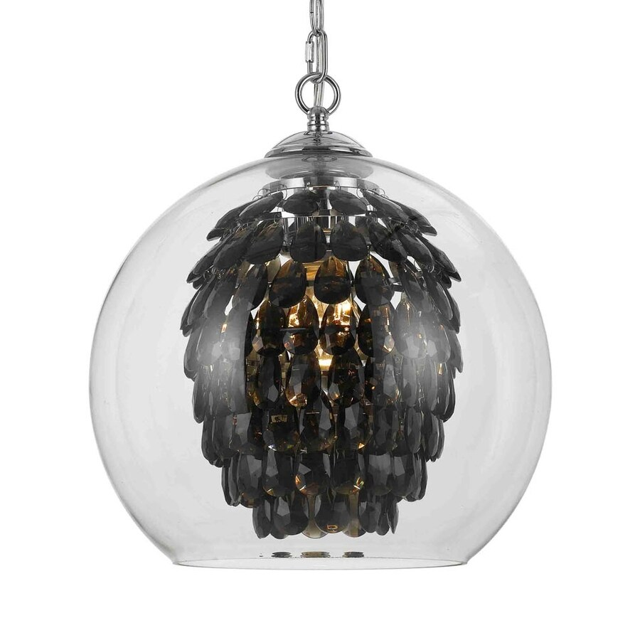 AF Lighting Elements 14-in Smoke Crystal Electrical Outlet/Hardwired Single Clear Glass Orb Pendant