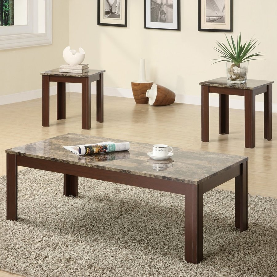 Coaster Fine Furniture 3 Piece Marble Coffee Table Set