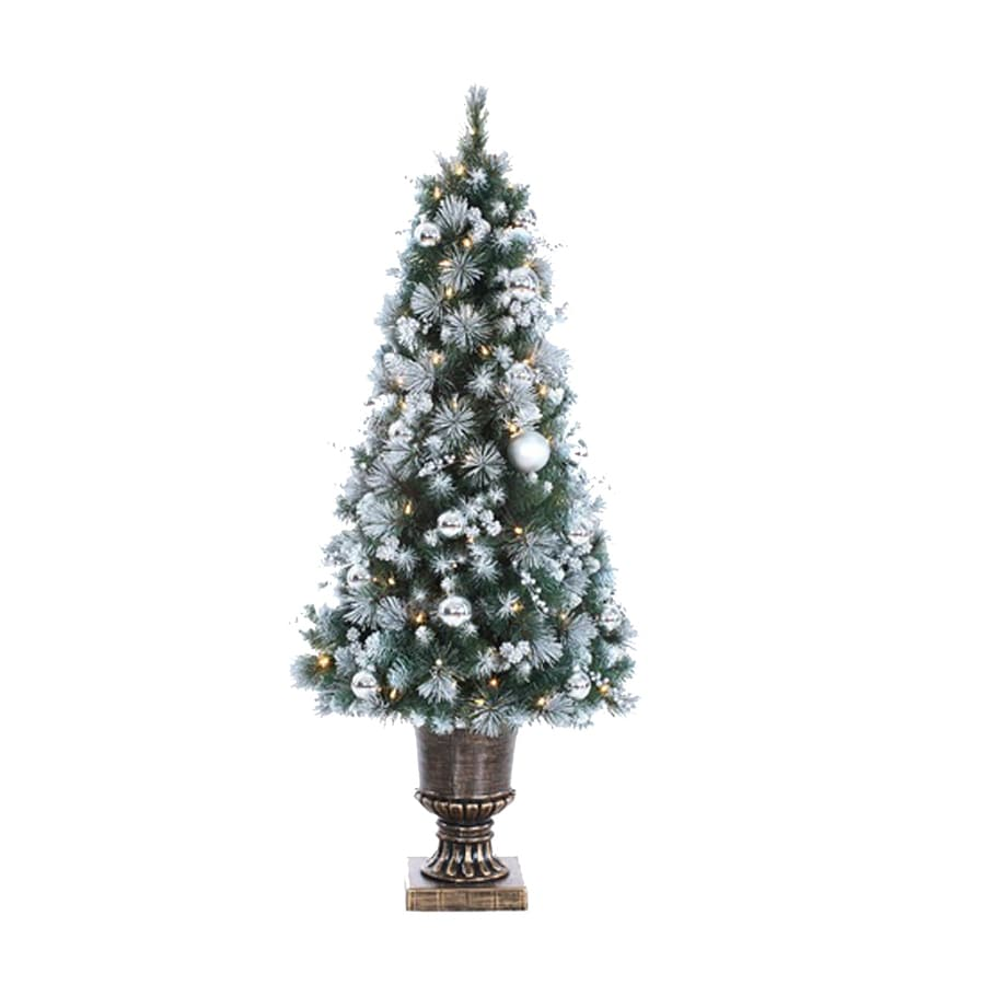 Northlight 4-ft Pre-Lit Slim Flocked Artificial Christmas Tree with 100 White Clear Lights
