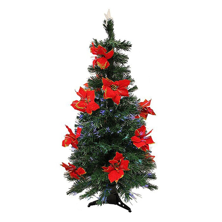 Northlight 5-ft Pre-lit Poinsettia Slim Artificial Christmas Tree with Color Changing Fiber Optics