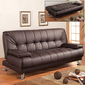 Coaster Fine Furniture Brown Faux Leather Sofa Bed