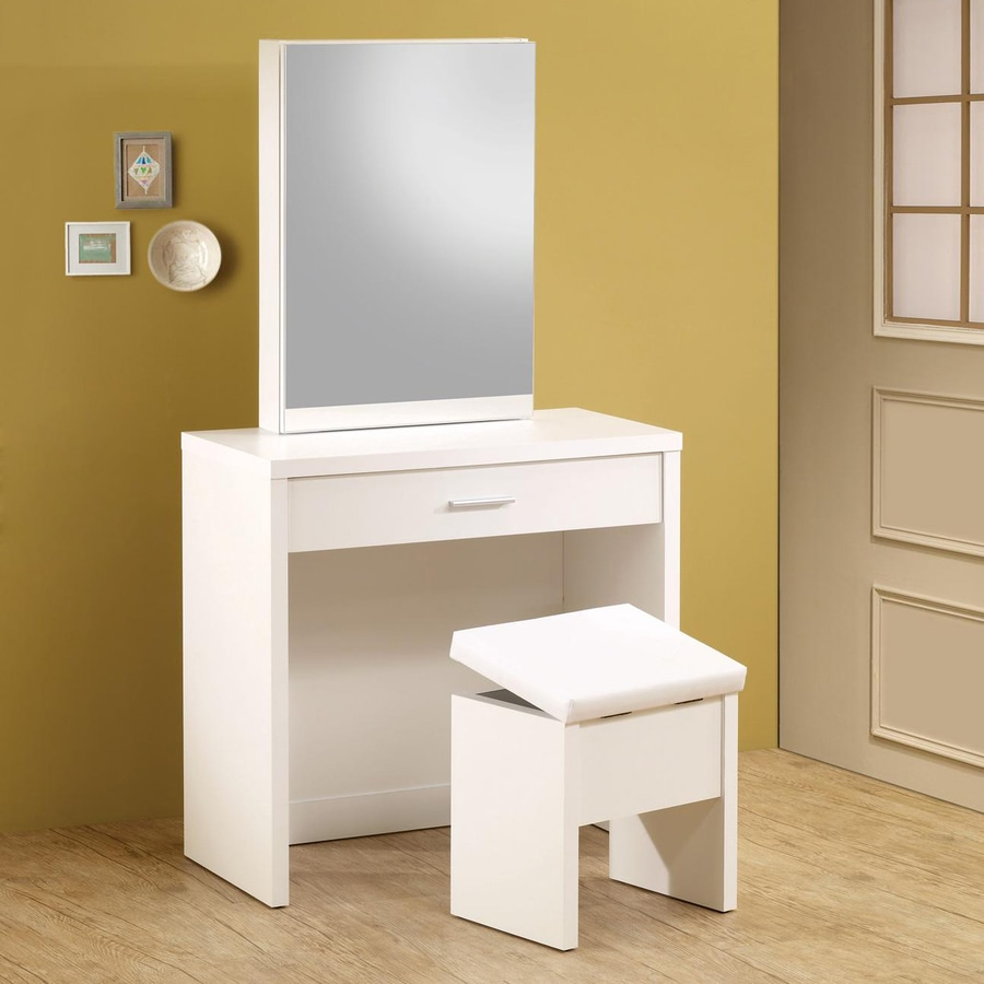 shop coaster fine furniture white makeup vanity at lowescom - coaster fine furniture white makeup vanity