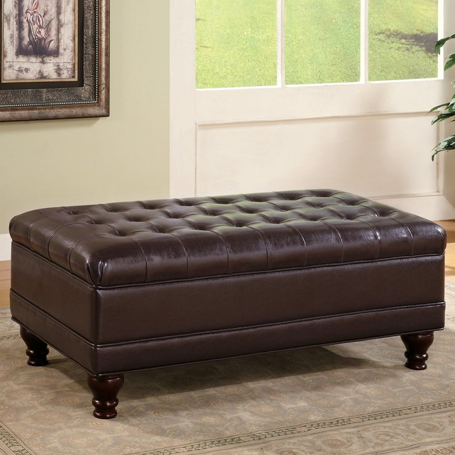Coaster Fine Furniture Casual Dark Brown Faux Leather Storage Ottoman
