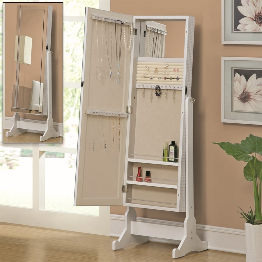 Shop Coaster Fine Furniture White Cheval Mirror Jewelry Armoire at
