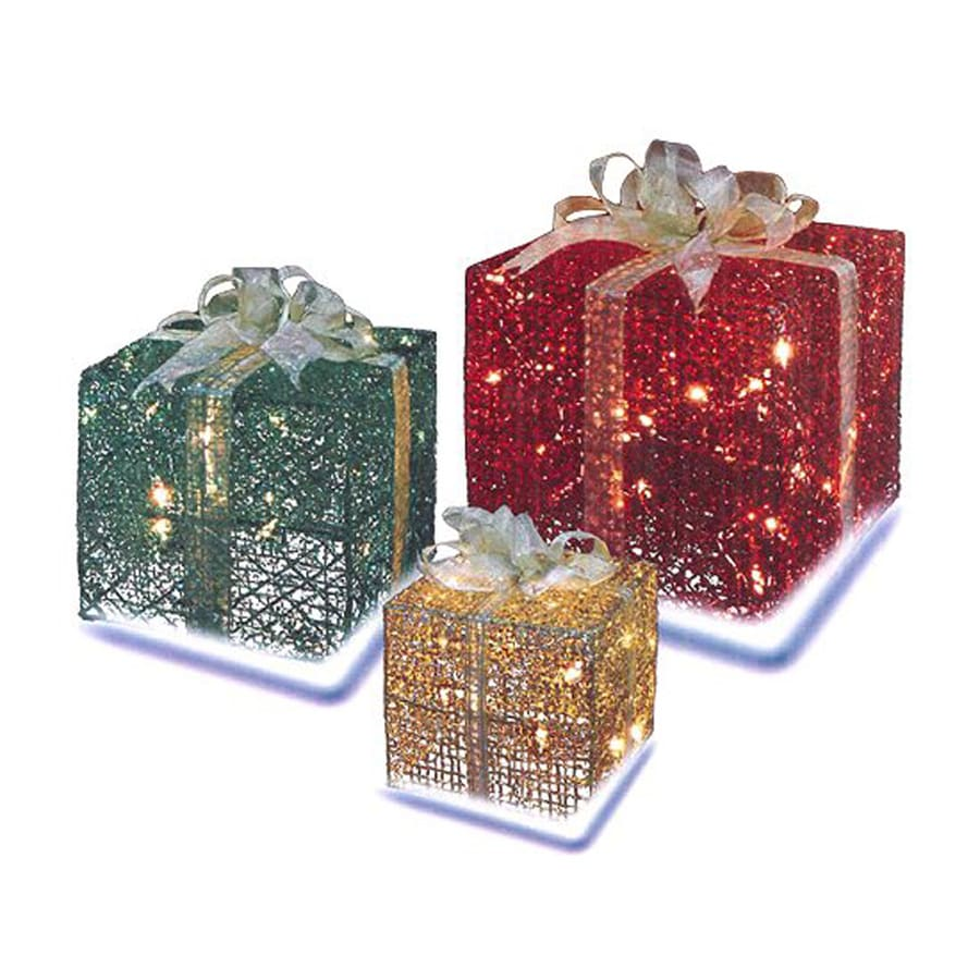 Northlight 10-in Freestanding Gift Box Sculpture with Constant White Incandescent Lights