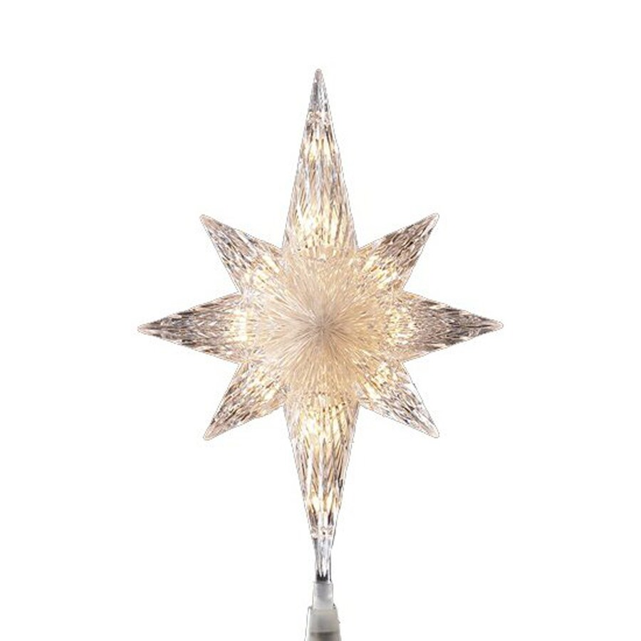 Northlight 11-in Lighted White Incandescent Plastic Star Clear Christmas Tree Topper