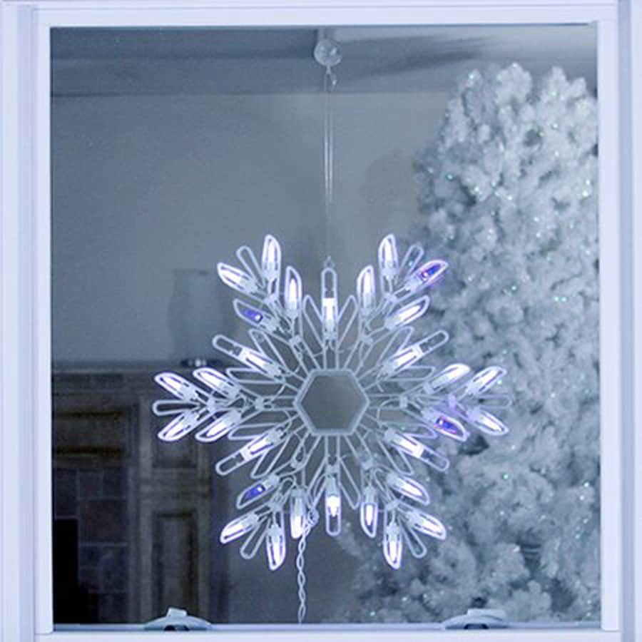 Hanging Outdoor Christmas Lights Youtube: Northlight Hanging Snowflake Window Cling With White LED