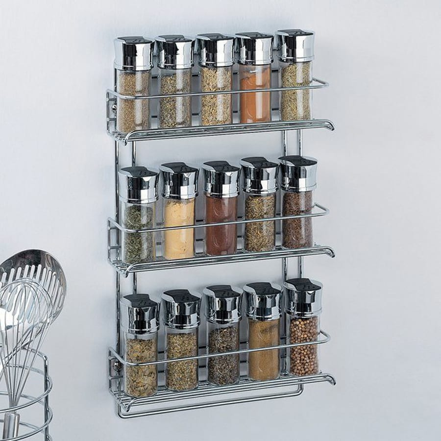 Shop organize it all metal wall mount spice rack at lowescom for Kitchen cabinets lowes with decorative metal disc wall art