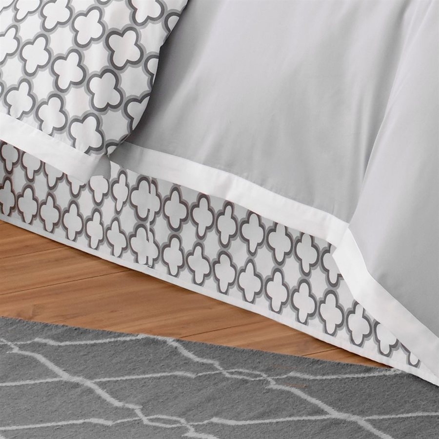 Jill Rosenwald by WestPoint Home Quatrefoil White/Grey Queen 15-in Bed Skirt