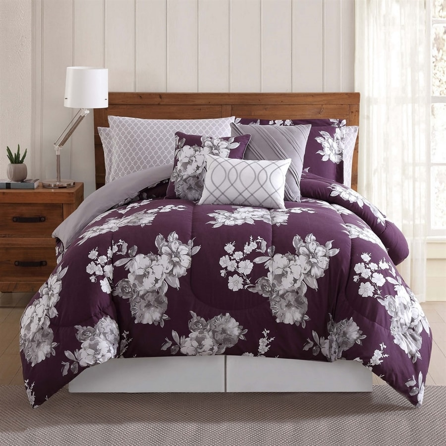 PEM America Outlet Peony Garden Floral Purple Queen Polyester Comforter