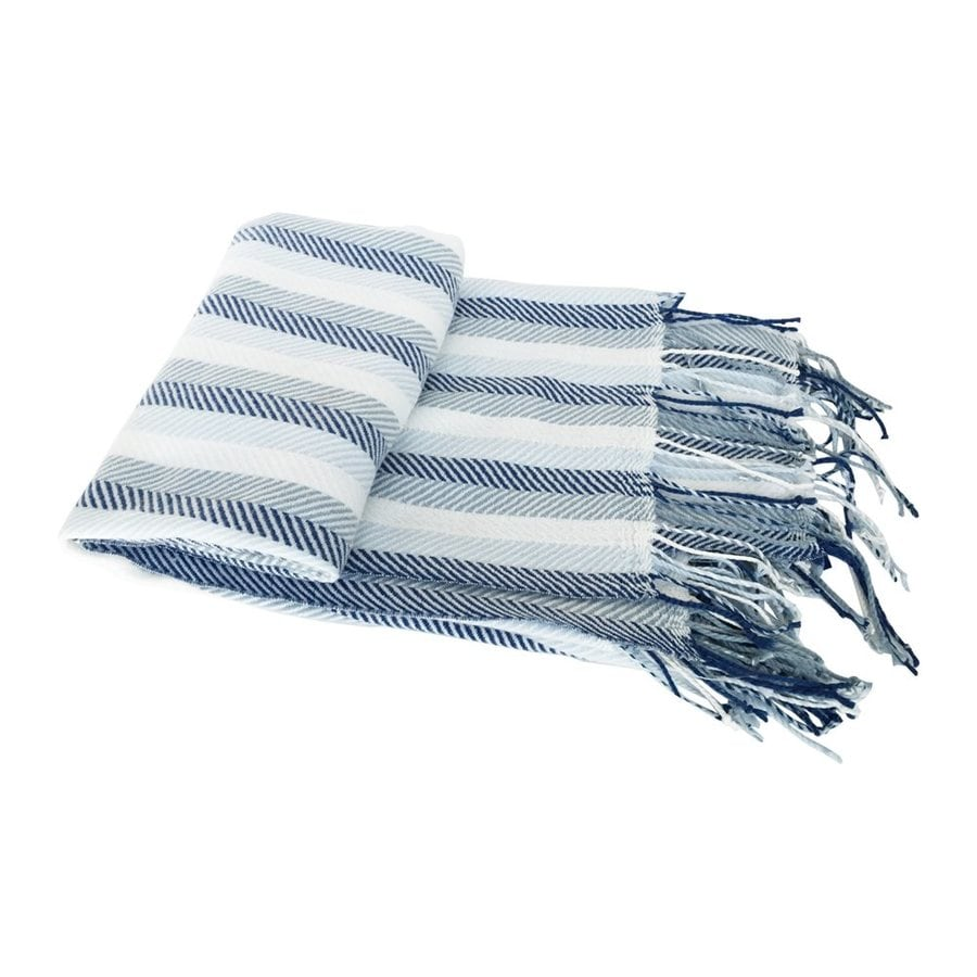 A&B Home Herringbone Blue Stripe 60-in L x 50-in W Polyester Throw