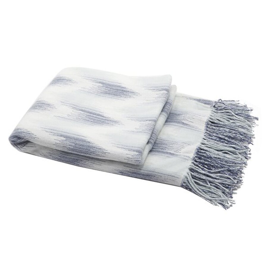 A&B Home Blue/White 60-in L x 50-in W Polyester Throw