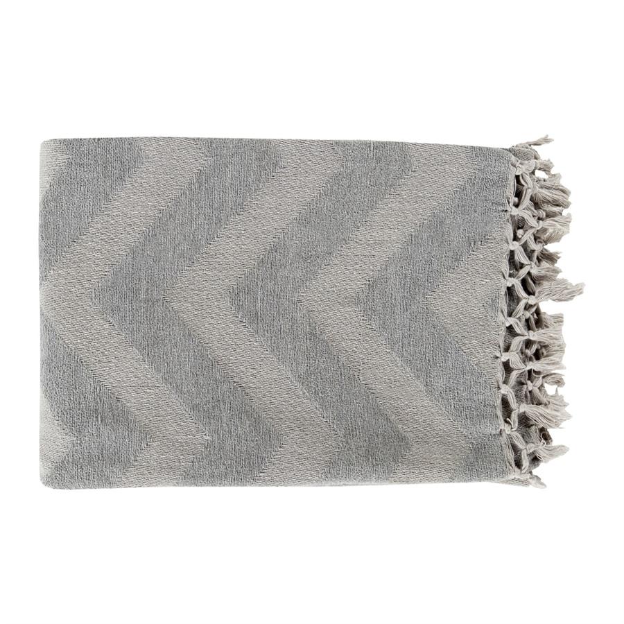 Surya Thacker Medium Grey/Light Grey 70-in L x 50-in W Cotton Throw