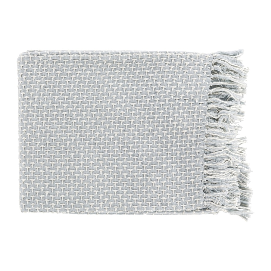 Surya Tierney Denim/White 60-in L x 50-in W Blend Throw