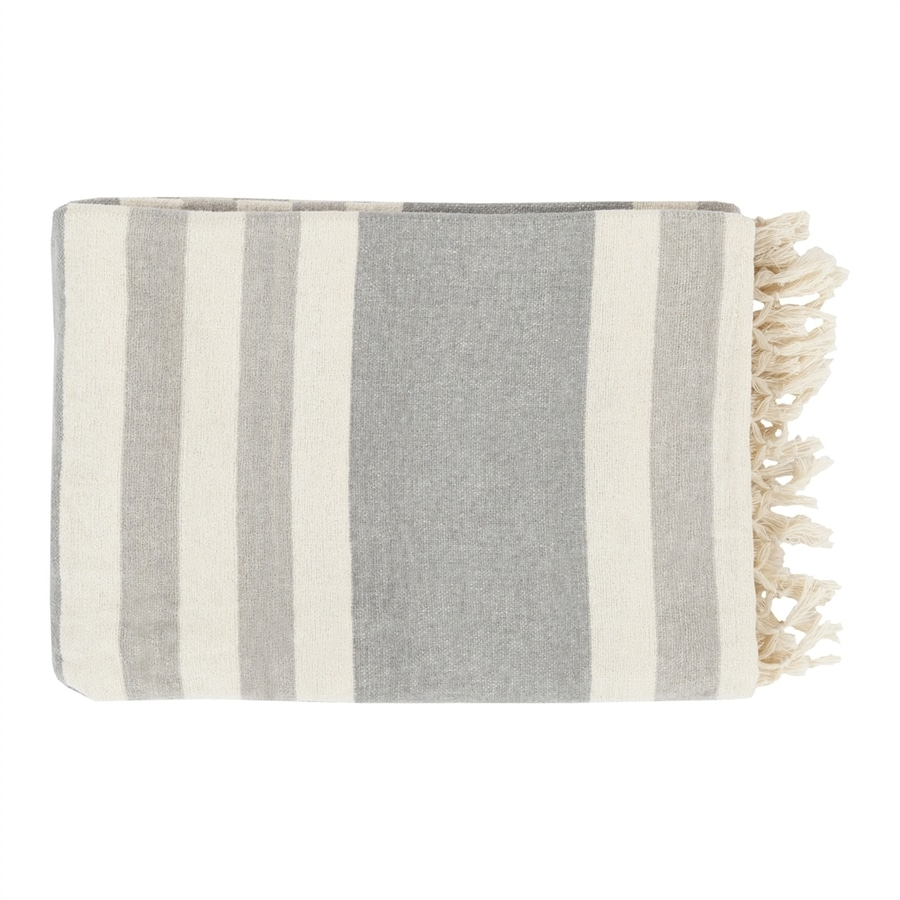 Surya Troy Gray 70-in L x 50-in W Cotton Throw