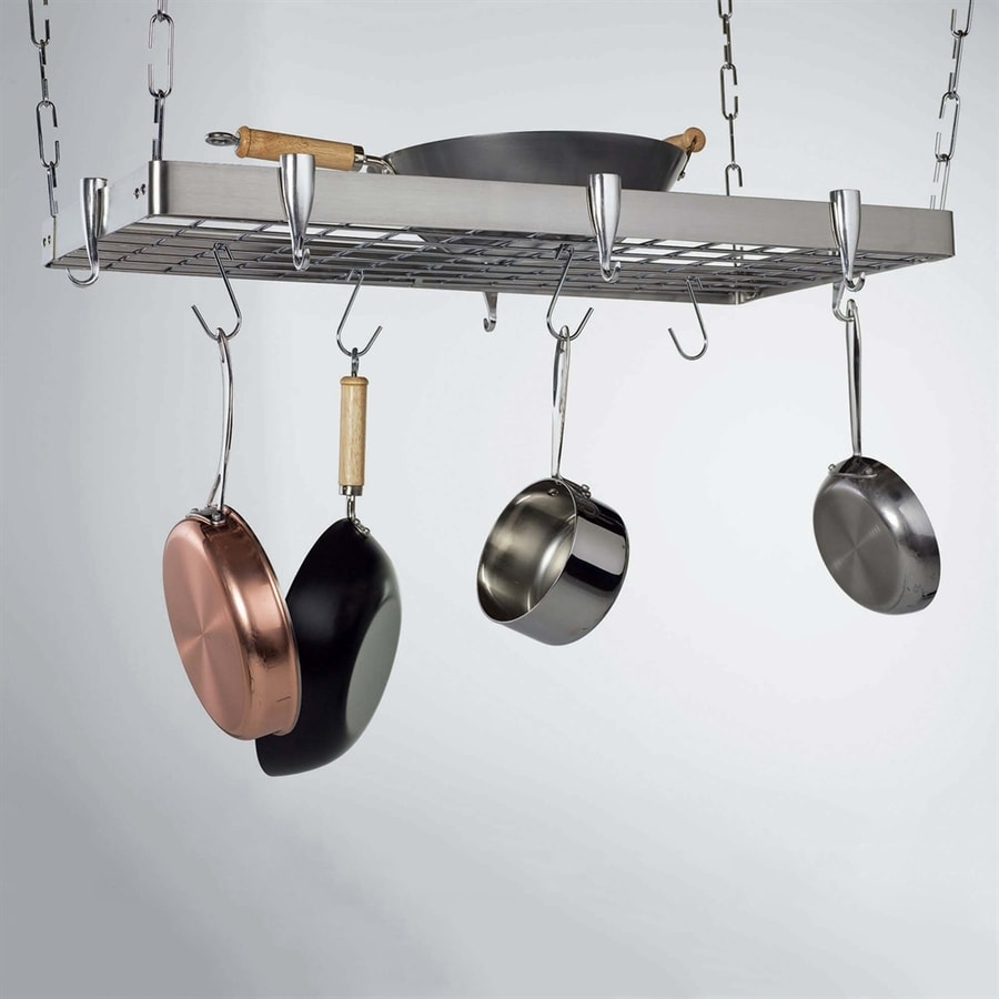 Concept Housewares 36-in x 18-in Stainless Steel Rectangle Pot Rack
