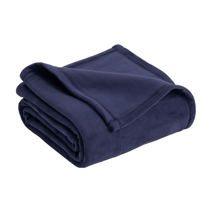 Vellux by WestPoint Home Micro Mink Navy 90-in L x 66-in W Polyester Blanket