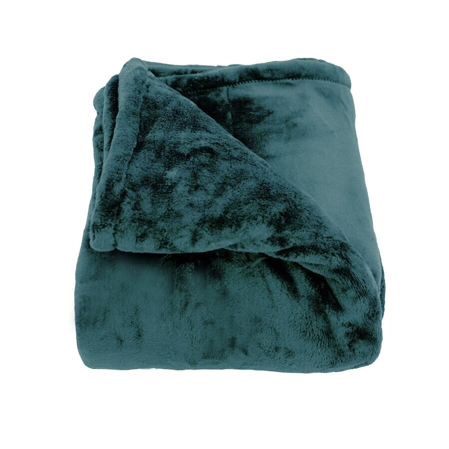 Woven Workz Oh So Soft Teal 90-in L x 90-in W Polyester Blanket