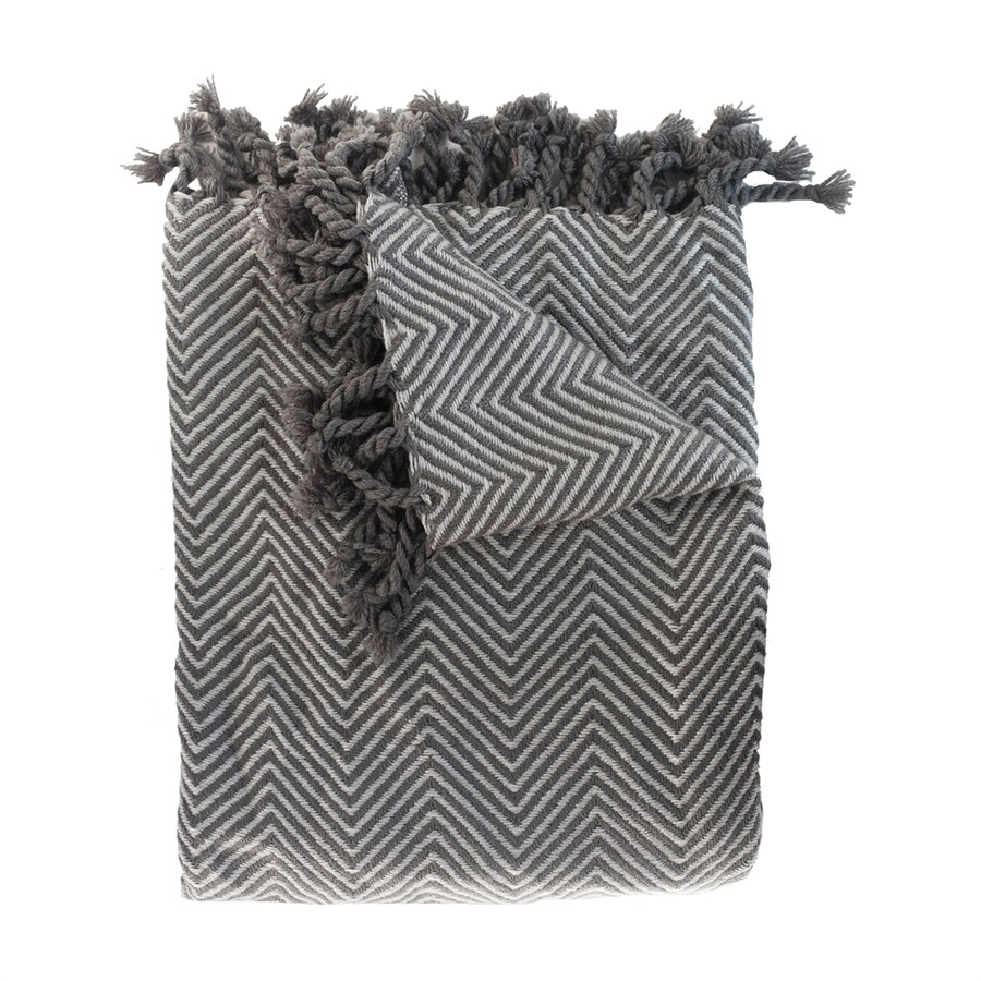 Woven Workz Sophia Charcoal/Slate 70-in L x 55-in W Acrylic Throw