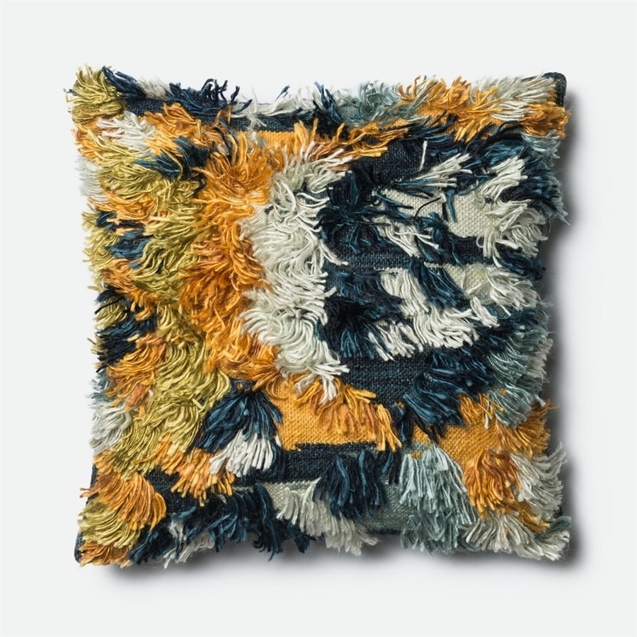 Loloi 22-in W x 22-in L Marine/Gold Indoor Decorative Pillow