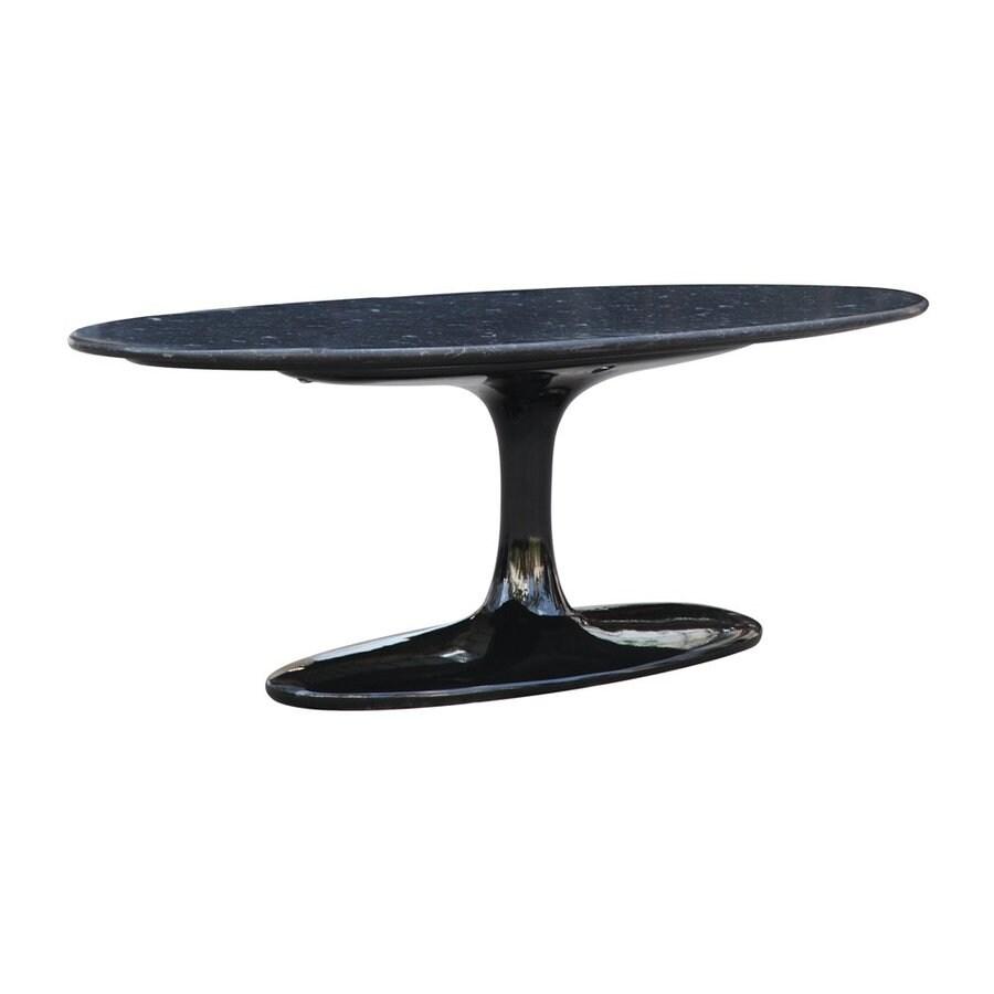Fine Mod Imports Flower Black Granite Marble Coffee Table