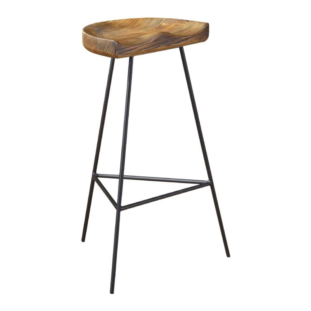 Fine Mod Imports Style Industrial Ash Wood Bar Height Stool