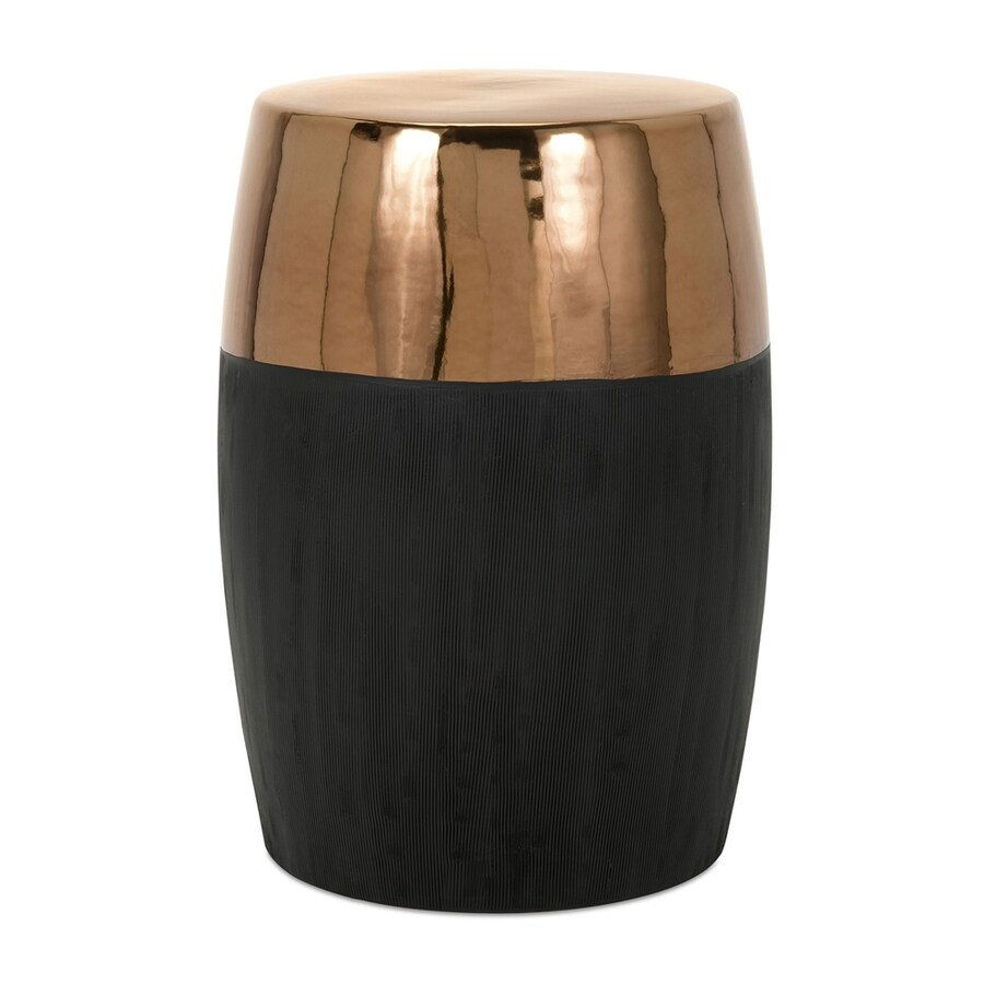 copper garden stool. Imax Worldwide Rhone 20.25-in Black/Copper Ceramic Barrel Garden Stool Copper N