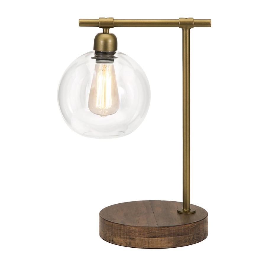 Imax Worldwide Amplitude 18-in Brass/Mocha Standard Electrical Outlet In-Line Downbridge Table Lamp with Glass Shade