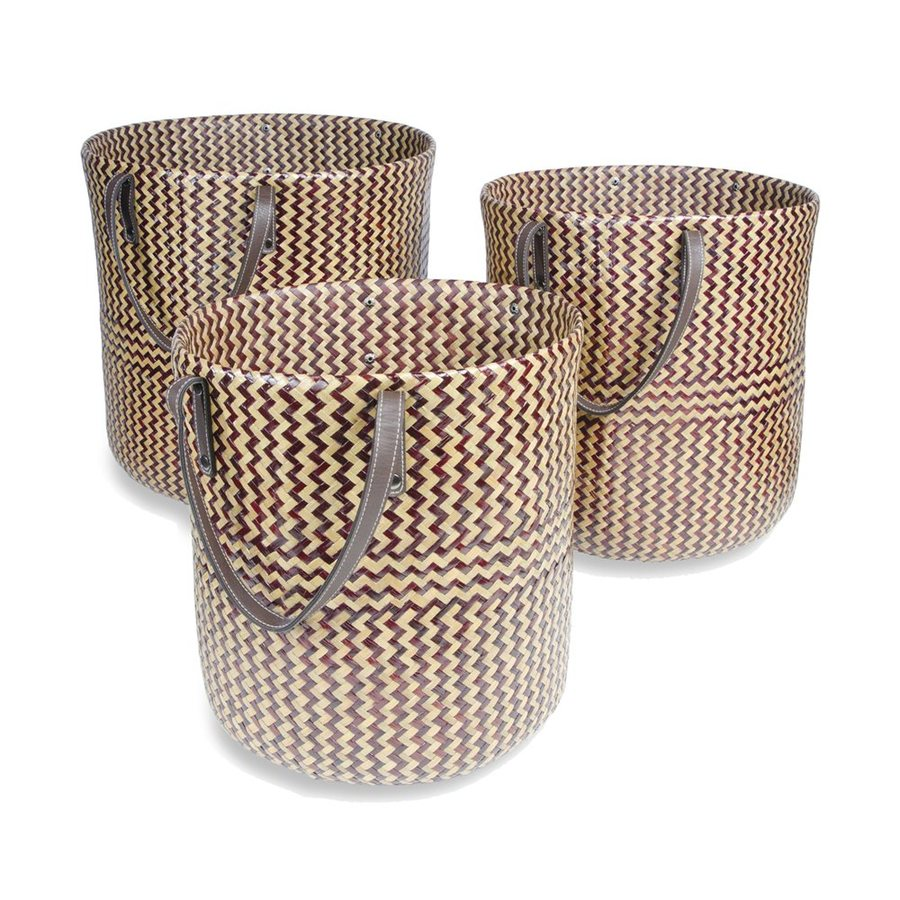 FOREIGN AFFAIRS 3-Pack 16-in W x 18-in H x 16-in D Brown Wicker Basket