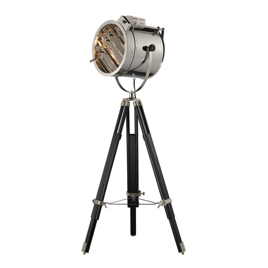 Dimond Home Curzon 45-in Black/Chrome Electrical Outlet Foot Switch Tripod Floor Lamp with Metal Shade